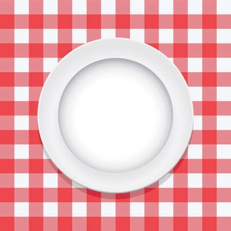gingham: vector red picnic tablecloth and empty plate