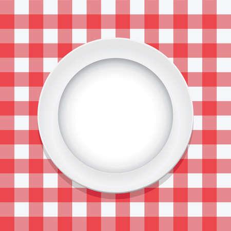 square detail: vector rojo mantel de picnic y el plato vac�o Vectores