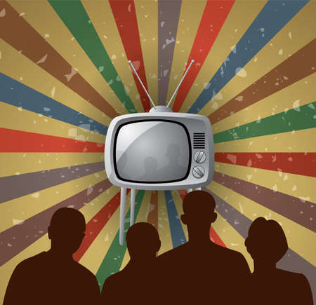 vector illustration of family watching retro tv set, eps 10 Vector