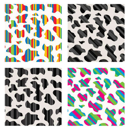 skin structure: vector set of abstract colorful cow skin texture  Illustration