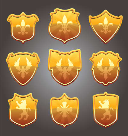 vector design set of shields  Vector