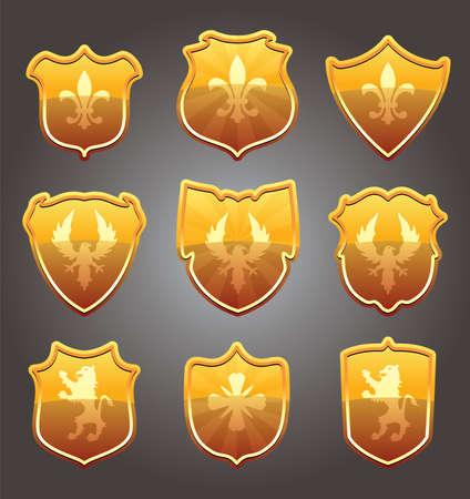 war bird: vector design set of shields