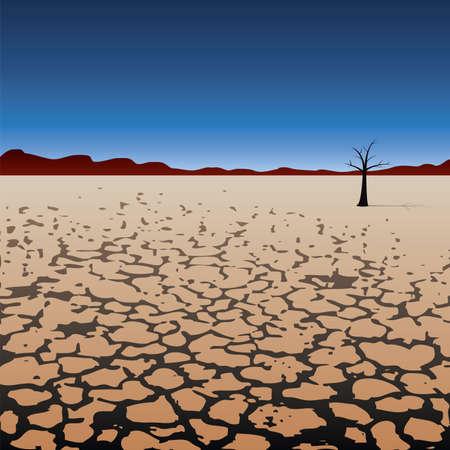 sequias: ilustración vectorial de un árbol solitario en el desierto seco Vectores