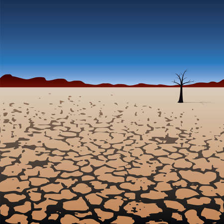 vector illustration of a lonely tree in dry desert