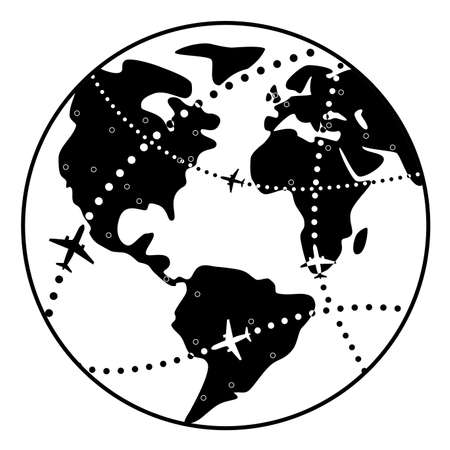 vector black and white illustration of airplane flight paths over earth globe  Vector