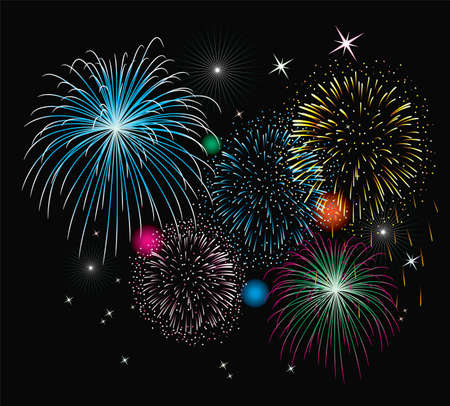 pink and black background: vector fireworks background