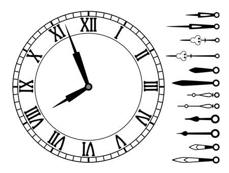 vector clock dial with roman numbers and set of clock hands Vector