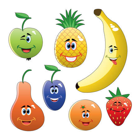 vector design set of colorful funny fruits  Vector