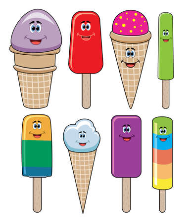 vector set of funny icecream and popsicles  Vector