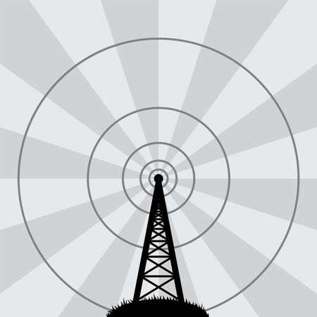 broadcasting: ilustraci�n vectorial de la torre de radio