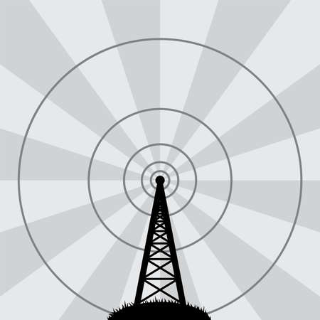 autoradio: vector illustratie van de radio-toren Stock Illustratie