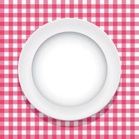vector de color rosa y el mantel de picnic plato vacío Ilustración de vector