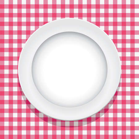 picnic blanket: vector pink picnic tablecloth and empty plate