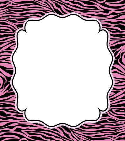 zebra: vector frame with abstract zebra skin texture and copy-space  Illustration