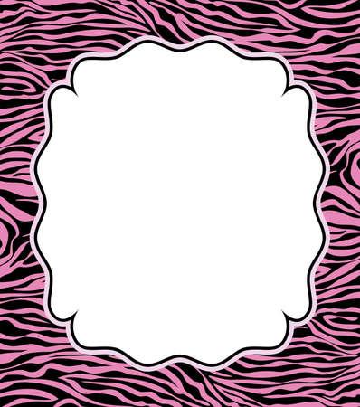 cebra: Vector marco con textura de piel de cebra abstracta y espacio de la copia-