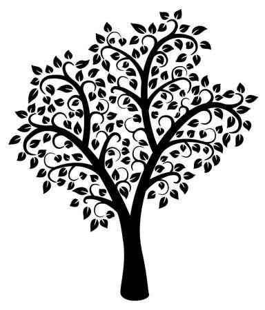 zwart wit tekening: vector ontwerp van zwarte en witte boom