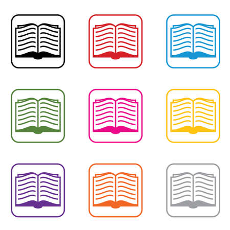 opened: vector set of book symbols