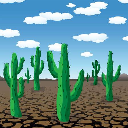 vector illustration of cactuses in dry desert Vector