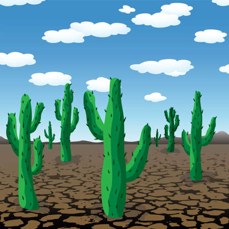dry land: vector illustration of cactuses in dry desert
