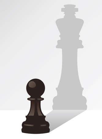 marioneta de madera: vector de peón de ajedrez con la sombra de un rey Vectores