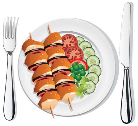 viande couteau: de poulet ou du poisson grill� vecteur, des l�gumes sur la plaque avec une fourchette et un couteau