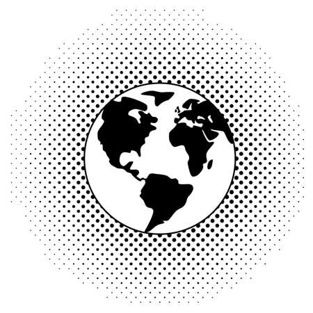 vector black and white illustration of earth globe  Vector
