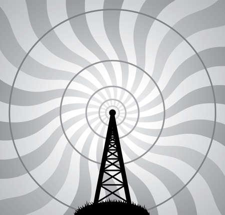 антенны: векторные иллюстрации радио башни и воздушных волн