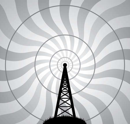 vector illustration of radio tower and air waves Illustration