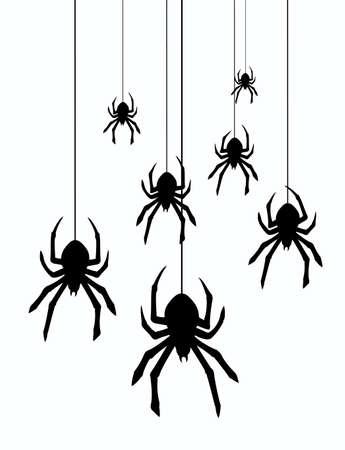 ilustracji wektorowych pająki wiszące