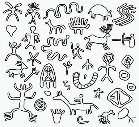 vector ancient petroglyphs  Illustration