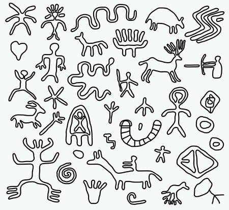 hieroglyphs: vector ancient petroglyphs  Illustration
