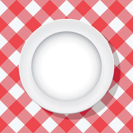 picnic tablecloth: vector red picnic tablecloth and empty plate