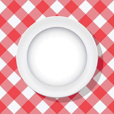 manteles: vector rojo mantel de picnic y el plato vac�o Vectores