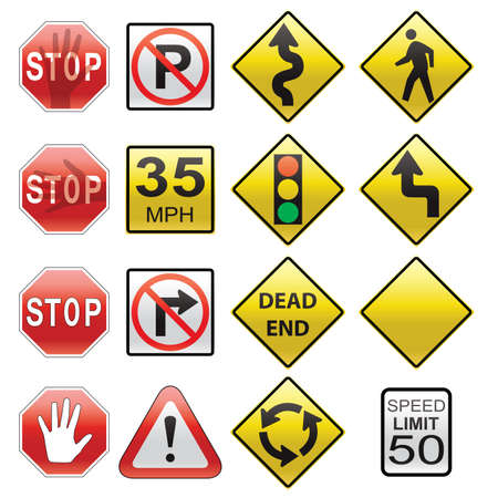 pedestrian sign: vector set of road signs