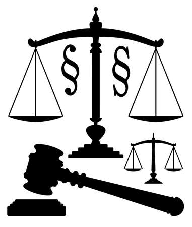 gavel: vector scales of justice, gavel and paragraph symbols Illustration