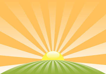 sol caricatura: Resumen de vectores de paisaje rural con el sol naciente