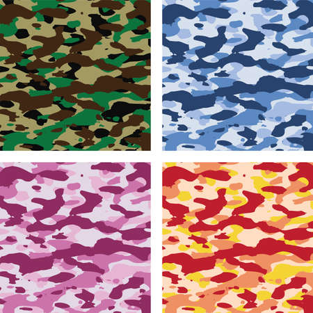 vector colorful camouflage patterns for all seasons Illusztráció