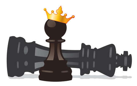 vector chess pawn with golden crown and defeated king  Illustration