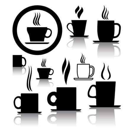 vector set van koffie en thee kopje iconen en symbolen