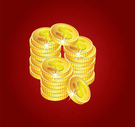 vector golden coins on red background Vector