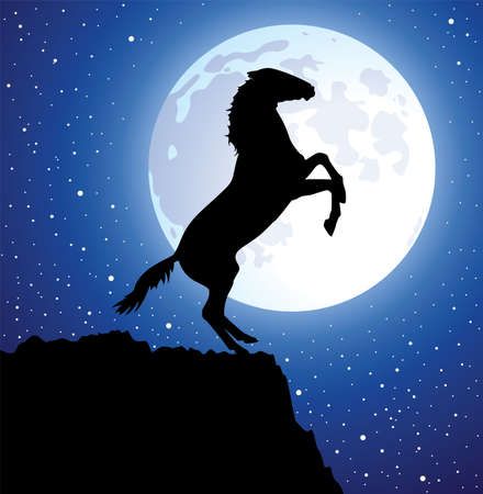 vector illustration of a horse on top of the mountain and a moon  Vector