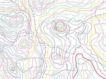 topographic map: vector abstract topographical map with colorful lines