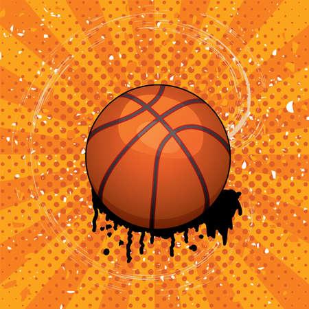 sports equipment: vector grunge illustration of basket ball Illustration
