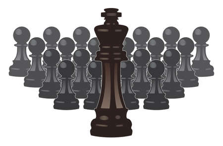 vector concept of leadership with chess pieces of a king and pawns  Vector