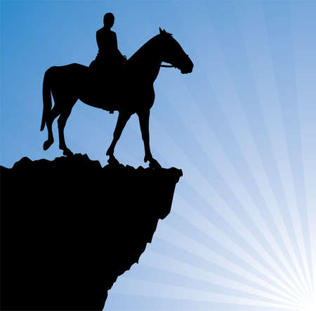 precipice: vector illustration of man on the horse on top of the mountain