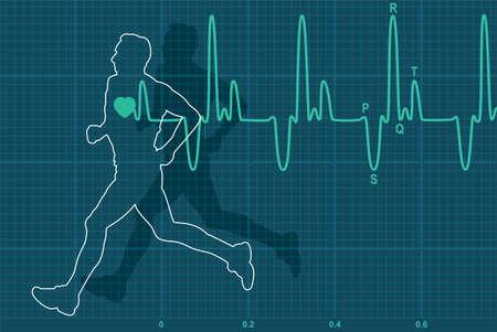 hacer footing: ilustraci�n vectorial de electrocardiograma latido del coraz�n y correr al hombre Vectores