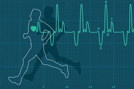 blood pressure monitor: vector illustration of heartbeat electrocardiogram and running man
