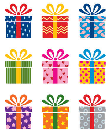 blue box: vector set of colorful gift box symbols