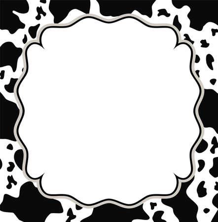 cuero vaca: Vector marco con textura de piel de vaca y abstracto espacio de la copia-
