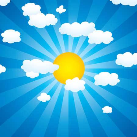 achtergrond met wolken en zon aan de hemel Vector Illustratie